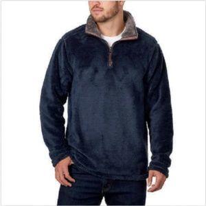 Trinity Men's 1/4 Zip Faux Fur Plush Pullover Navy